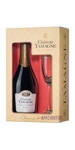 Шато Тамань брют белое игристое вино 0,75 л в подарочной упаковке с бокалом