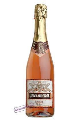 Цимлянские вина полусухое розовое игристое вино, 0,75 л
