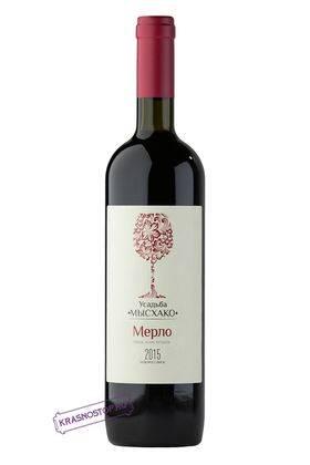 Мерло Усадьба Мысхако красное сухое вино, 0,75 л