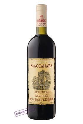 Портвейн красный южнобережный Массандра красное креплёное вино 2013 год, 0,75 л