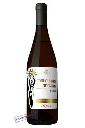 Солнечная долина белое полусладкое вино, 0,75 л