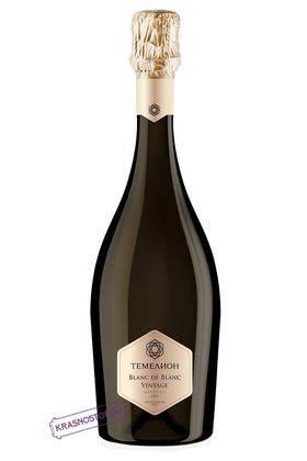 Блан де Блан винтаж Темелион брют белое игристое вино, 0,75 л