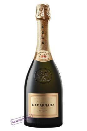 Мускат Балаклава полусладкое белое игристое вино, 0,75 л