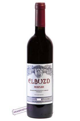 Мерло Эльбузд красное сухое вино урожая 2015 года 0,75 л